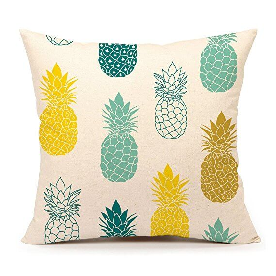Pineapple Pillow yellow, cream and teal
