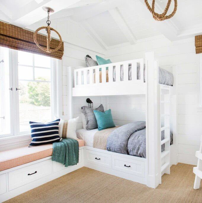 Newport Beach California Coastal Home Bunk Room