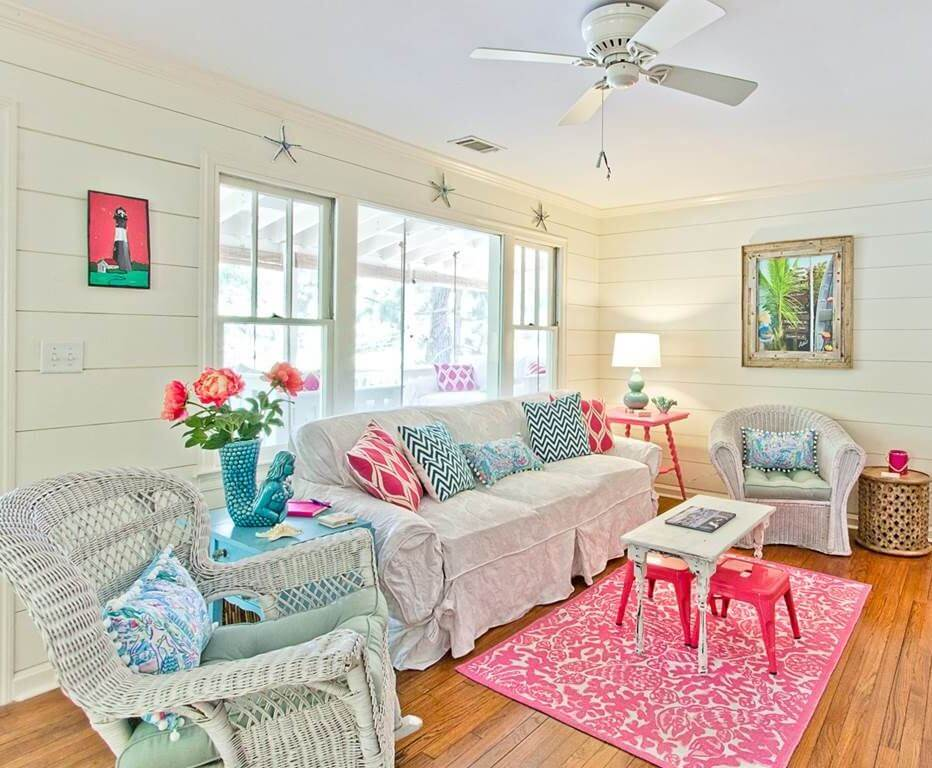 The Salty Mermaid Beach Cottage Living Room