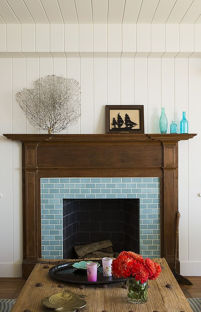 Malibu California Beach Cottage Fireplace
