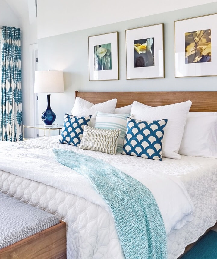 blue and white beach bedroom