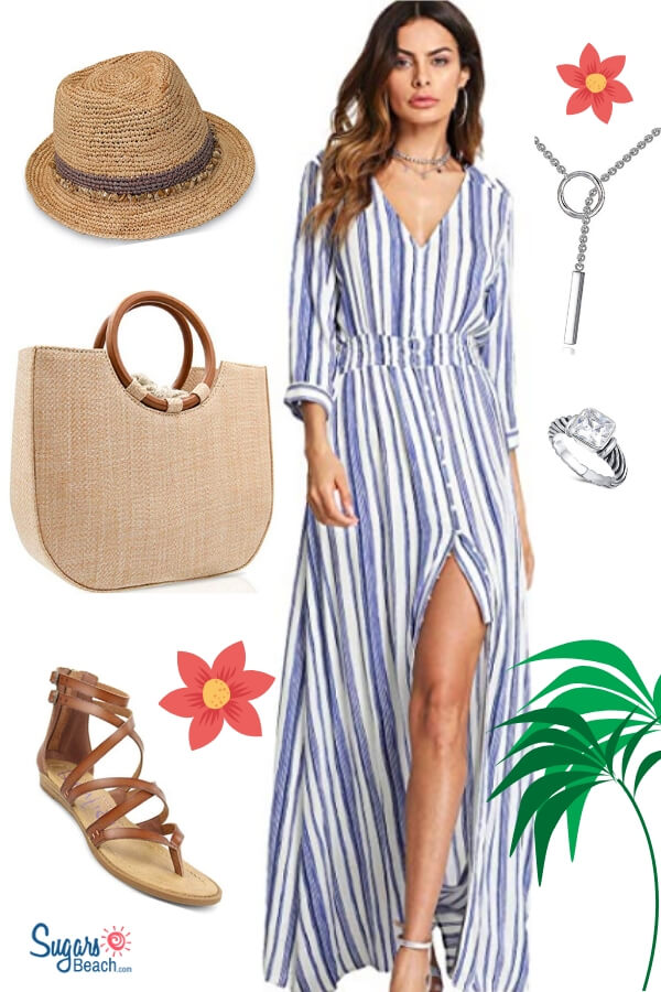 8f9cdbbf794 A casual summer maxi dress sets the tone. Add a statement straw bag along  with a fedora style sun hat