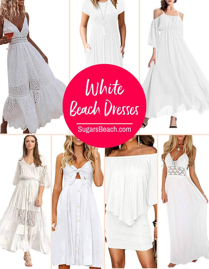 selection of casual white beach dresses