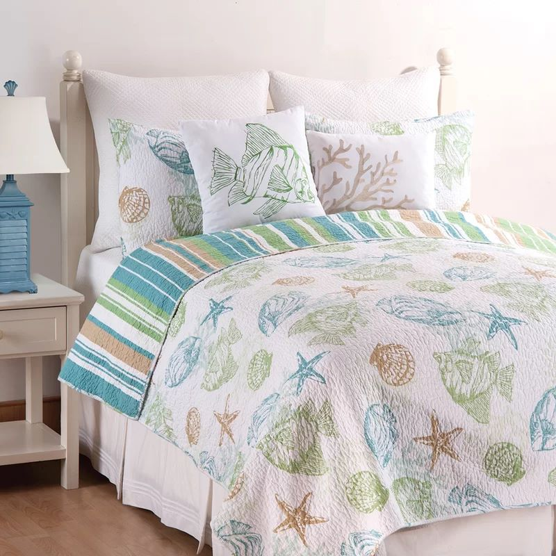 Reef Point Cotton Reversible Quilt Set