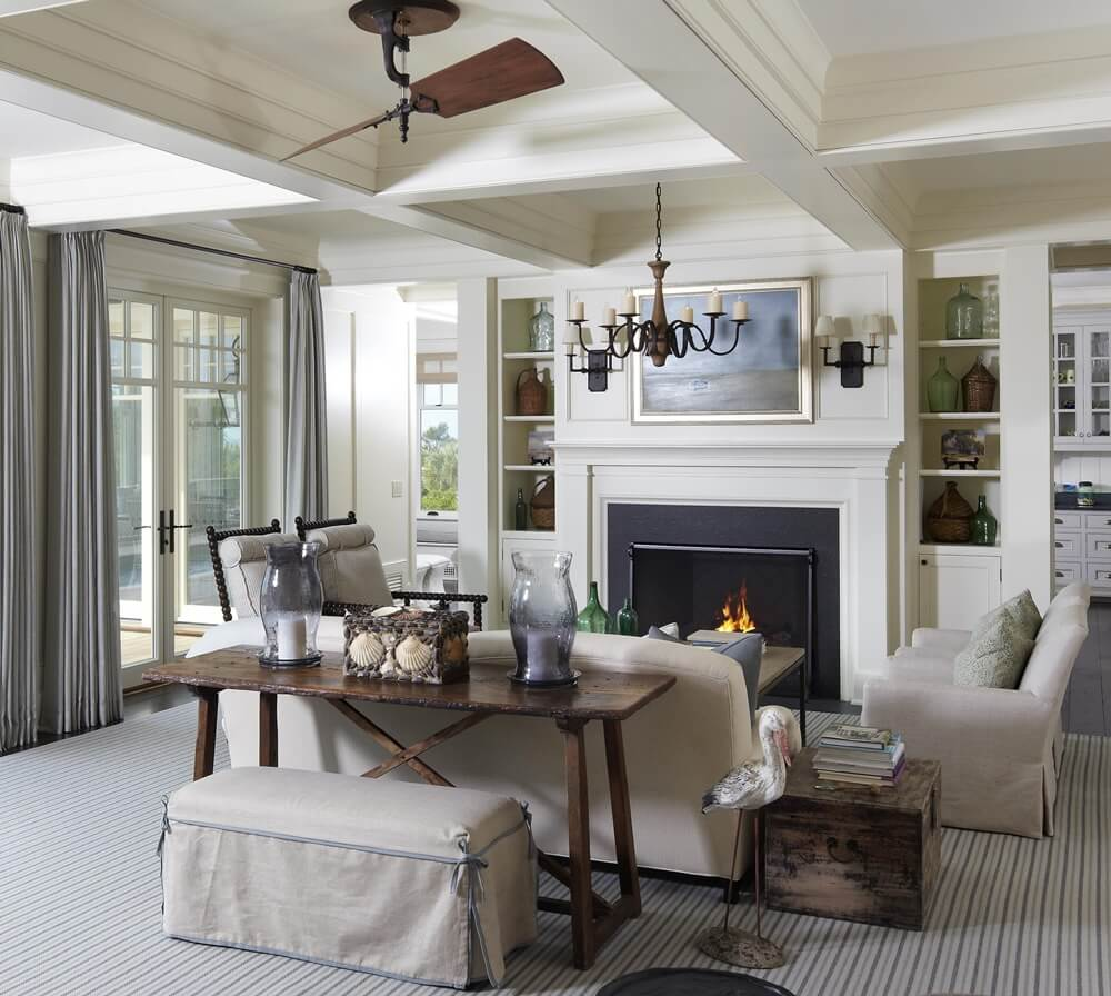 Kiawah Island Beach House Living Room with Fireplace