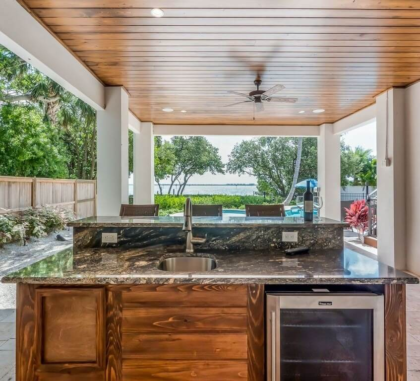 Anna Maria Sound Waterfront Rental Outside Kitchen