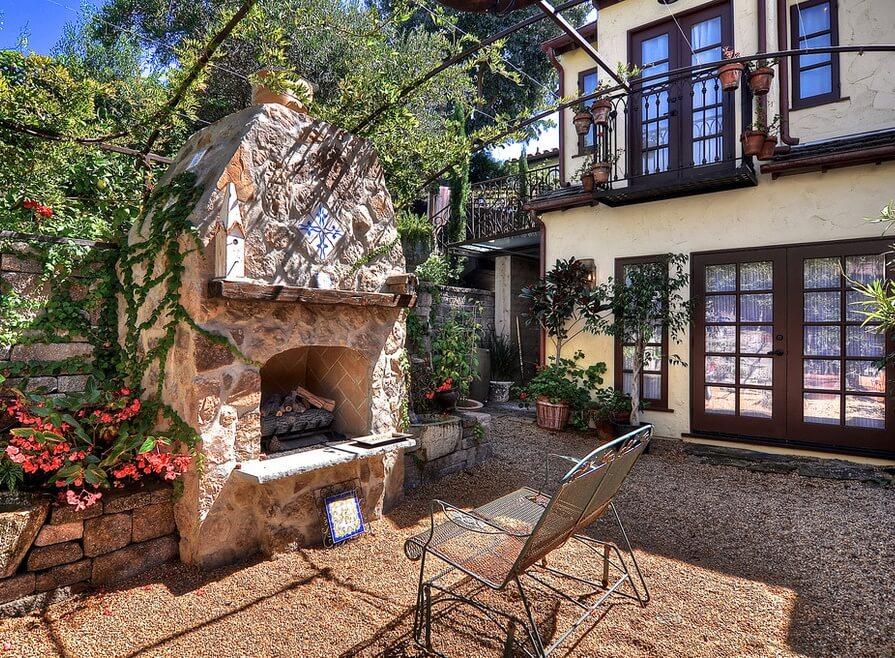 Historic Laguna Beach Home Outside Fireplace