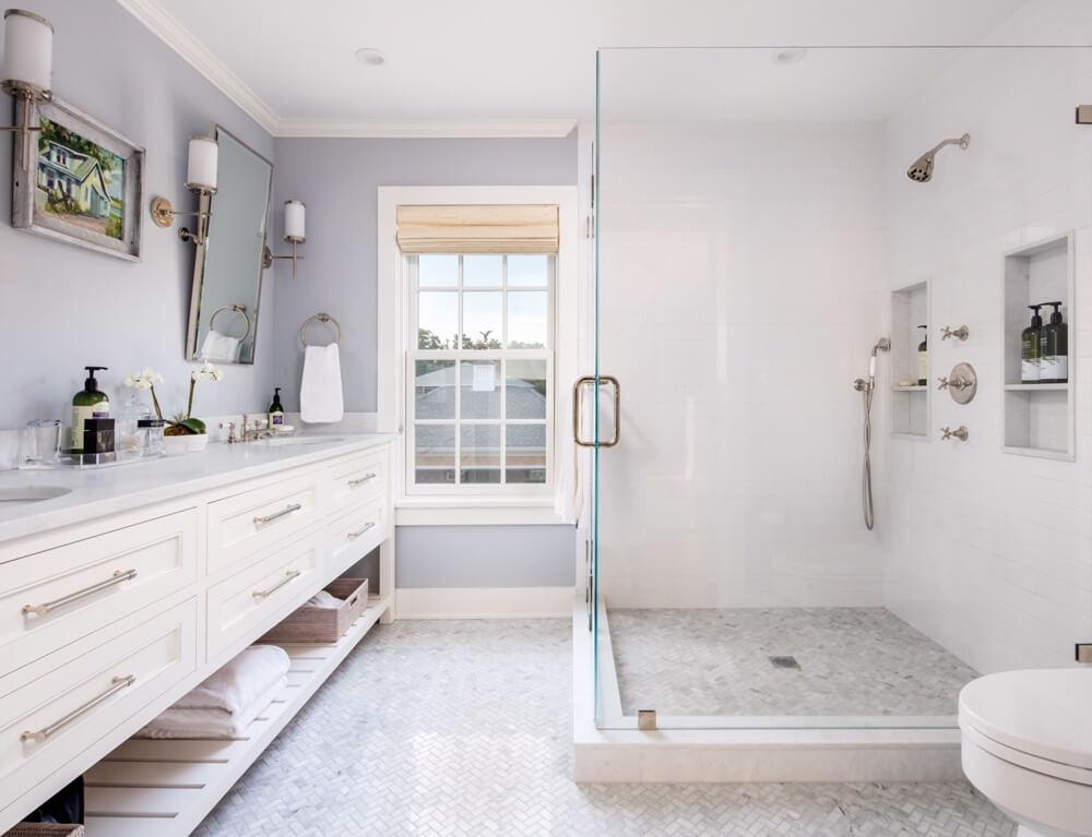 Southampton New York Beach House Bathroom Walk-in Shower