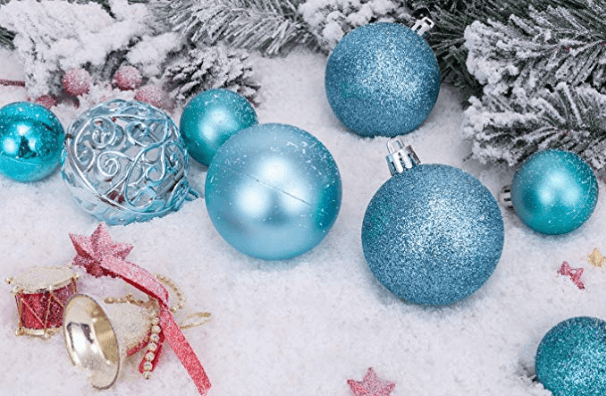 tree ornaments in blue and aqua - link to Amazon