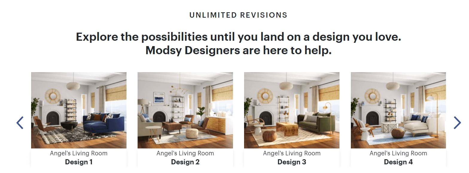Modsy Design Options - Online Interior Design Service
