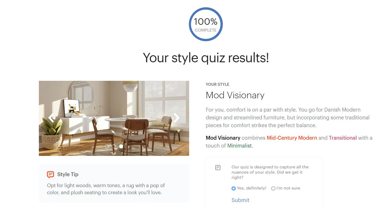 Modsy Style Quiz Results - Online Interior Design Service