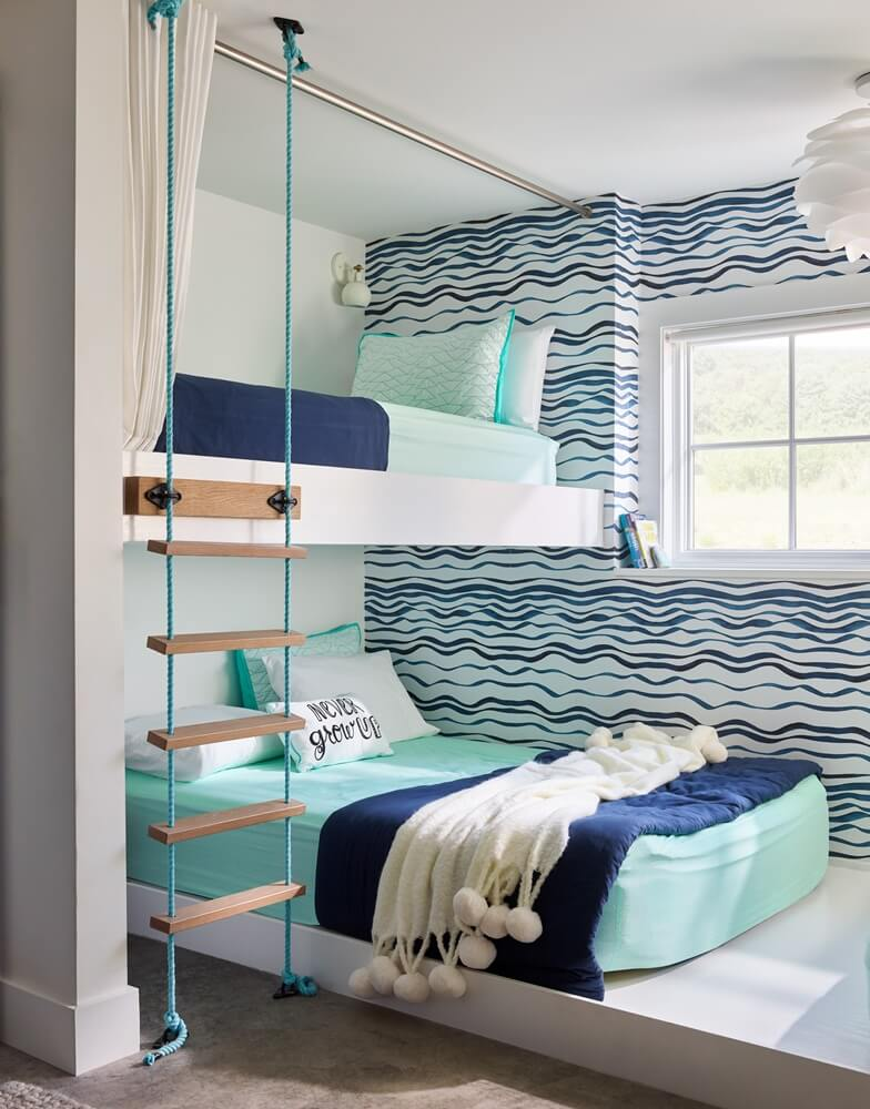 Small Modern Cottage Bunk Room
