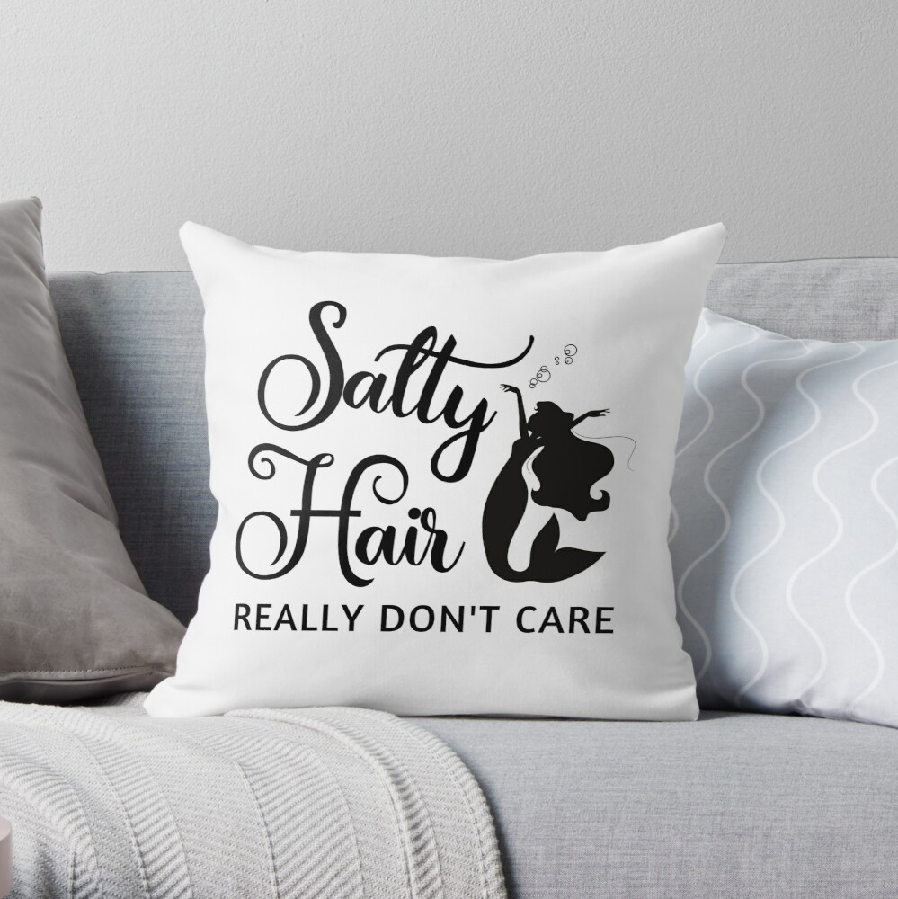 Salty Hair Throw Pillow
