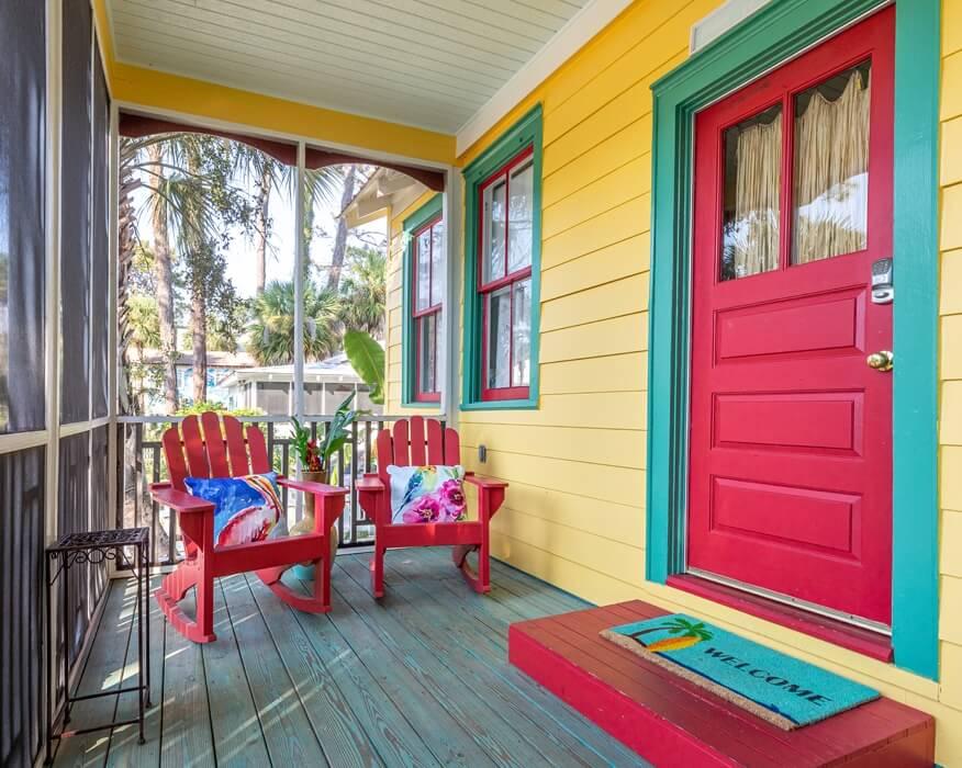 Tybee Island Georgia Screened Porch + Front Door
