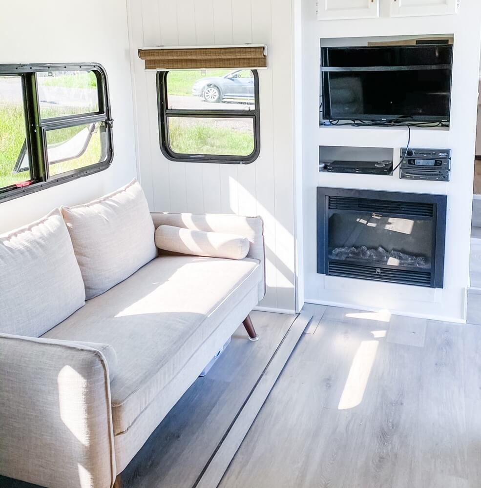 Duluth Minnesota RV Living Room Area with Fireplace